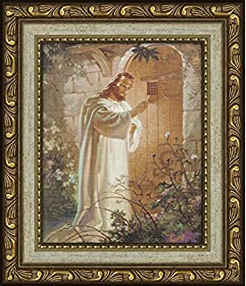 sallman classic christian art christ at hearts door print framed with easel for standing gift
