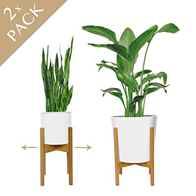 """2 Pack Mid Century Plant Stand. Get Two Adjustable 8""""-12"""" Indoor Plant Stand or Plant Holder. Natural Bamboo Plant Stands Indoor. Used as a Tall Plant Stand or Flower Stand [Plant Pot NOT Included] : Garden & Outdoor"""