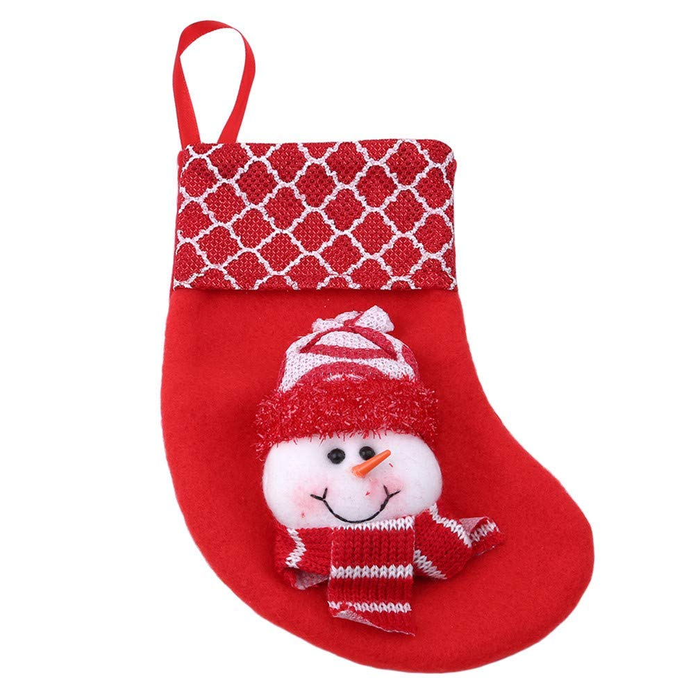 Xeminor Premium Quality Christmas Stockings Hangers,Xmas Gift Socks Bags,Christmas Holiday Stockings,Red Snowman Style