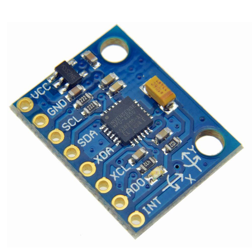 Onyehn 5Set IIC I2C GY-521 MPU-6050 MPU6050 3 Axis Analog Gyroscope Sensors 3 Axis Accelerometer Module for Arduino with Pins 3-5V DC
