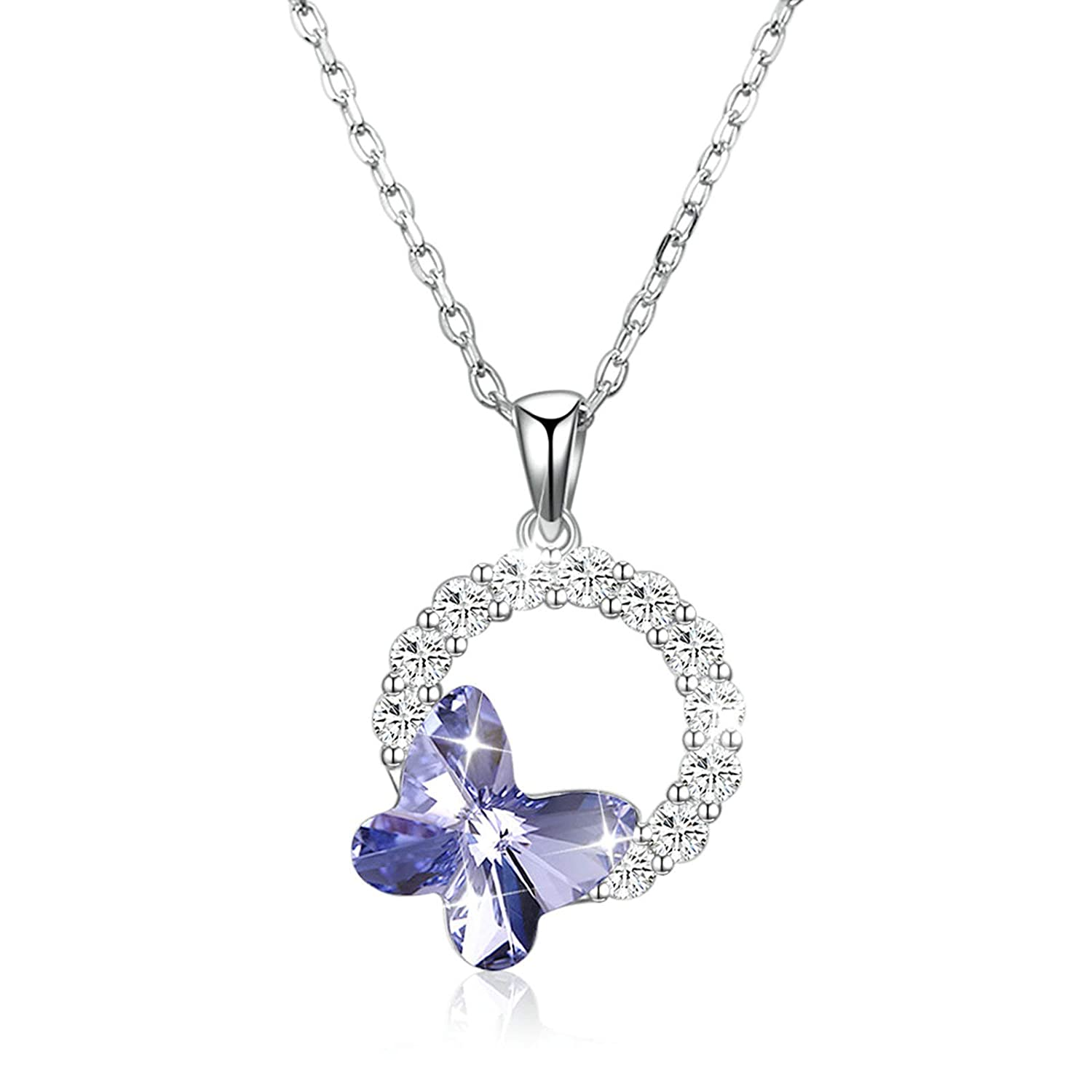 EoCot Silver Plated Nekclace Butterfly with Austrian Crystal Round Pendant for Women Girls