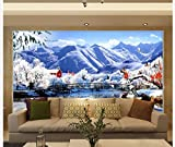 LHDLily 3D Nature Wallpapers Home Decoration Snow Landscape Fashion Landscape Tv Wall Photo Mural Wallpaper 400cmX300cm