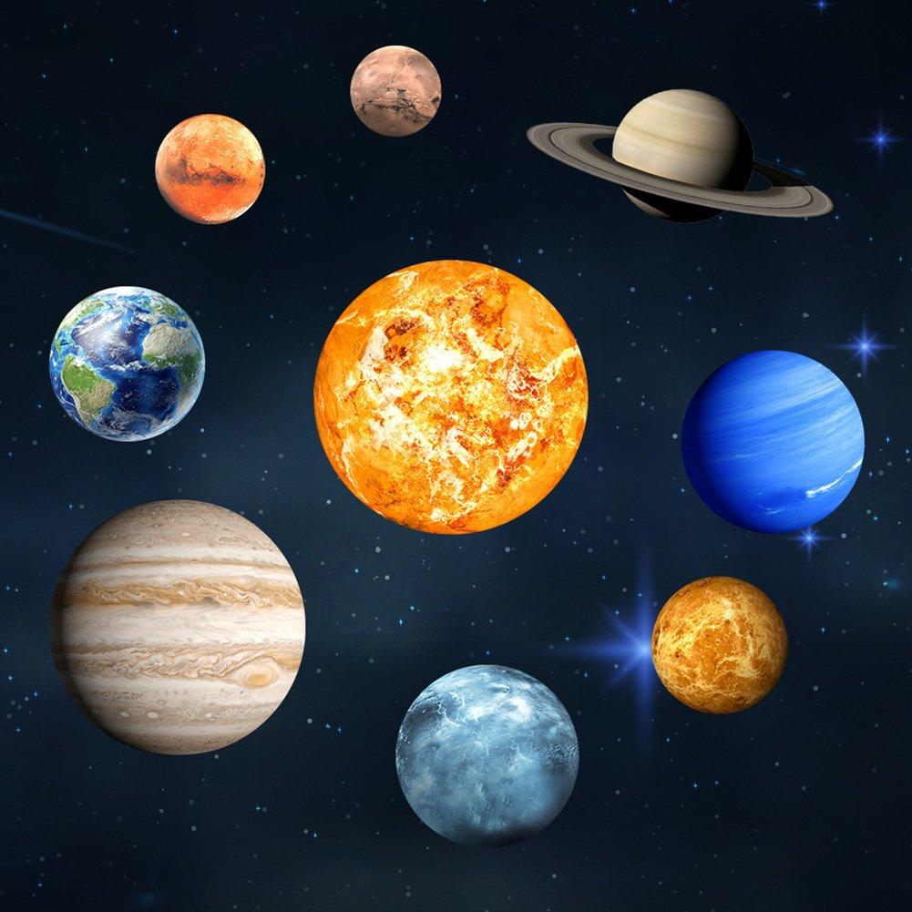 Bloomma Adesivi murali, Space Planet Adesivo da Parete Luminoso 9 Pianeti Sistema Solare Decalcomanie da Parete smontabili Decor for Kids Camera da Letto Living Nursery Baby Room