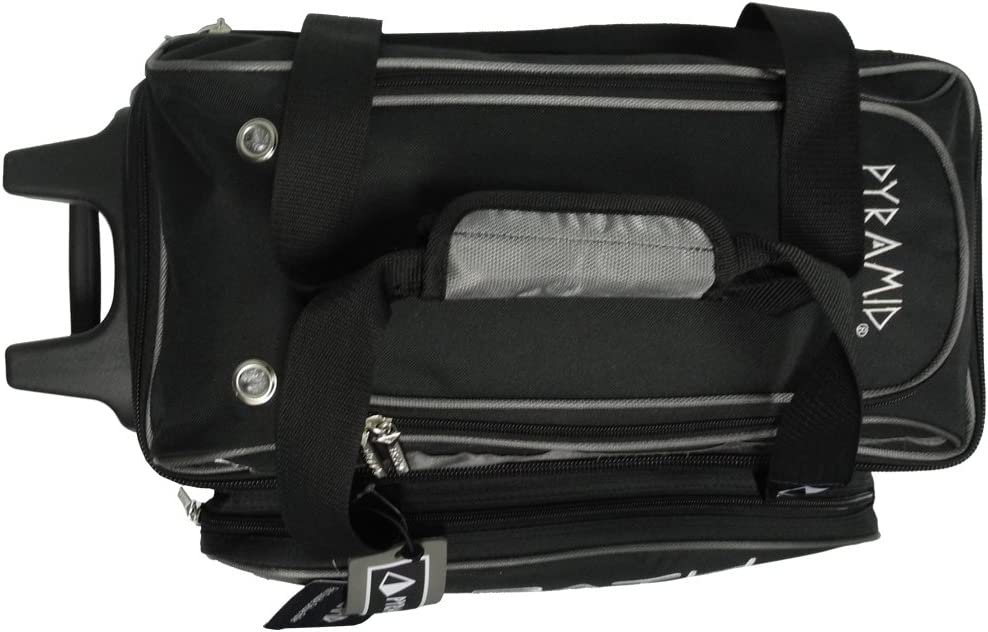 Pyramid Path Premium Deluxe Double Roller with Oversized Accessory Pocket Bowling Bag Black//Silver