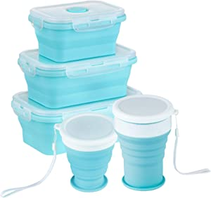 Collapsible Silicone Lunch Bento Box with Airtight Lids-Set of 5|Foldable Food Storage Containers Picnic Boxes with Travel Cup for Camping Outdoor BPA Free Space Saving (Blue 3boxes+2cups)