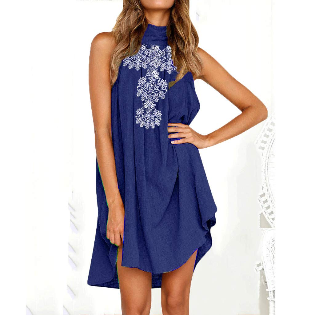WANQUIY Casual Dresses for Women Summer Halter Neck Fashion Sleeveless Beach Holiday Party Dress Ladies Dress