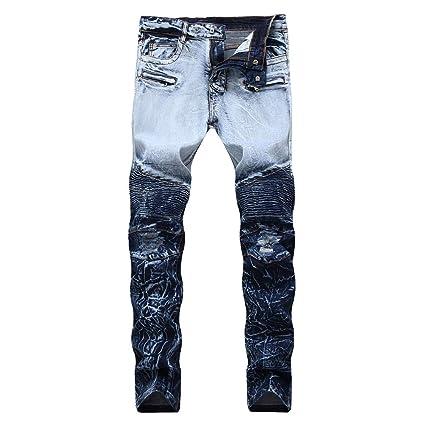 Fengbingl Pantalones Vaqueros Desgastados de Hombre ...