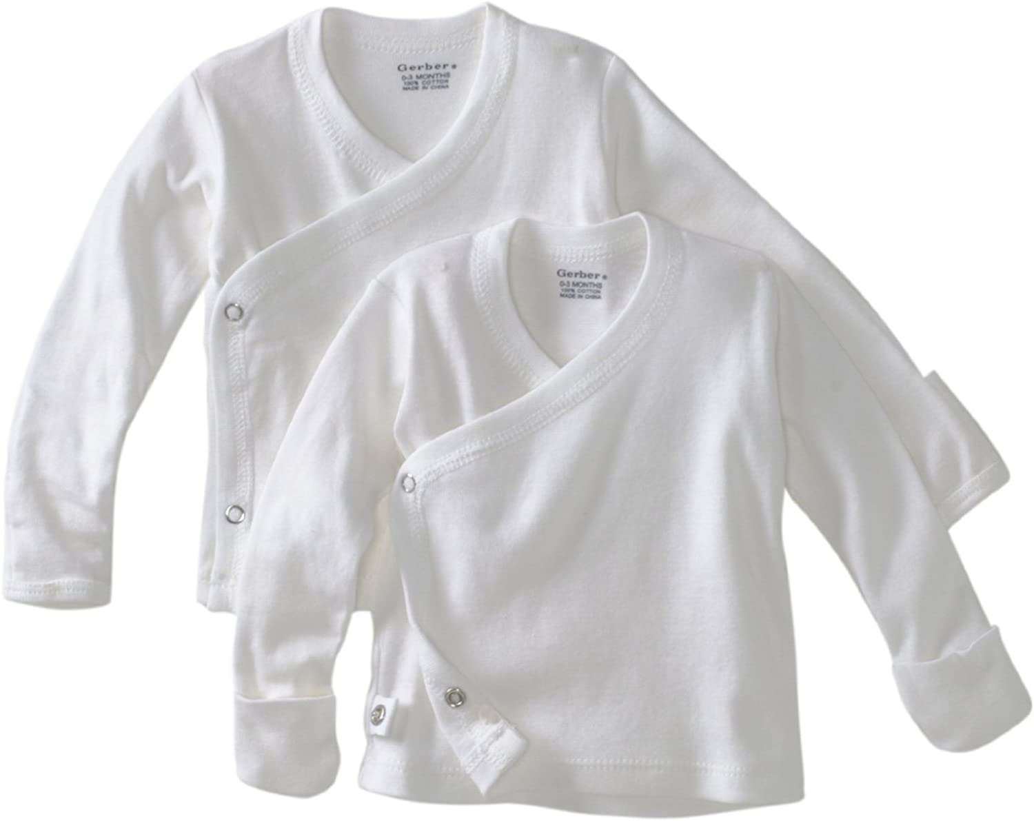 Unisex White 2 pk Long Sleeve Side Snap Shirt 0-3 Months