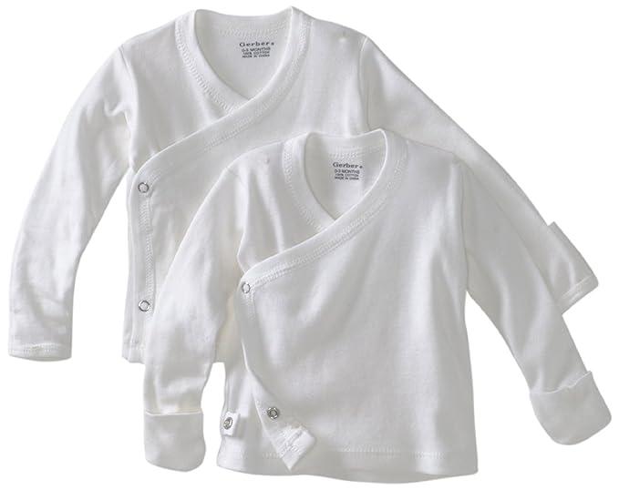 42f0e7767 Amazon.com: Unisex White 2 pk Long Sleeve Side Snap Shirt (0-3 ...