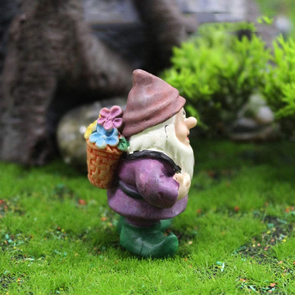 Limao Fairy Garden Accessories Outdoor Mini Gnomes Fairy Garden Set Seven Dwarfs Statue with Flowers and Tools(G)