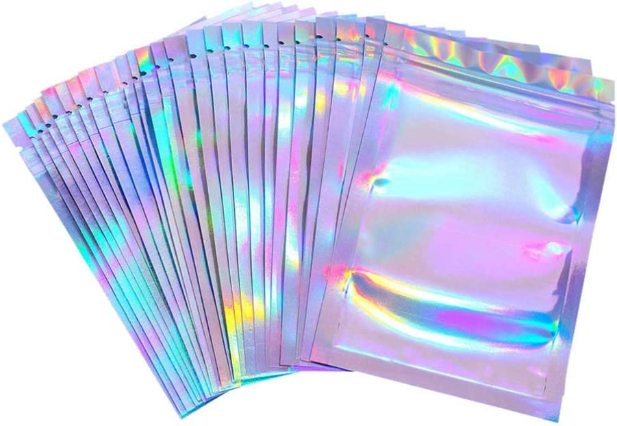 Hemoton Bolsas con Cierre de Cremallera de 20 Piezas con Cierre de Aluminio Mylar Lámina de Plástico Bolsa de Embalaje con Cremallera Bolsa Termosellable para Almacenamiento de Alimentos 7. 5X10cm
