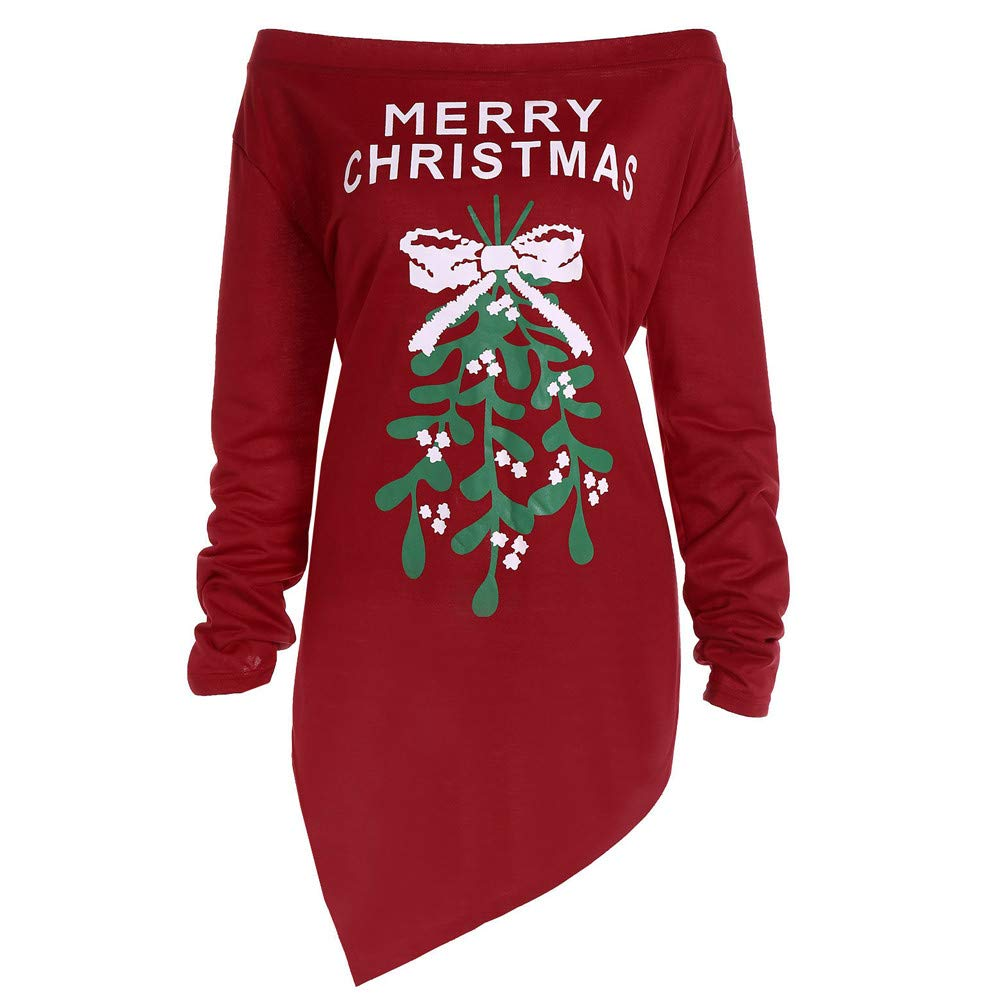 DoraMe Abito da donna con stampa di Natale Abiti da sera a maniche lunghe con albero di Natale da donna Ragazze Manica Lunga Mini Abito Christmas Vestiti Abito Vintage lunghe felpa