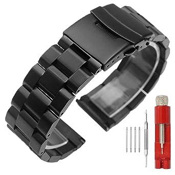 Amazon.com: Correa de reloj de acero inoxidable con acabado ...