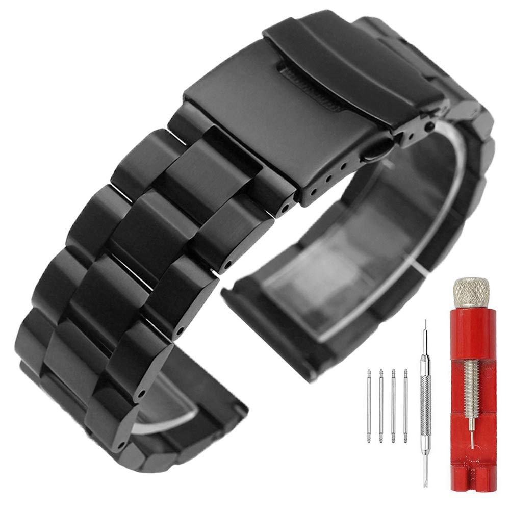 22mm Black Matte Wrist Band Stainless Steel Replacement Watch Band with Push Button Safety Buckle