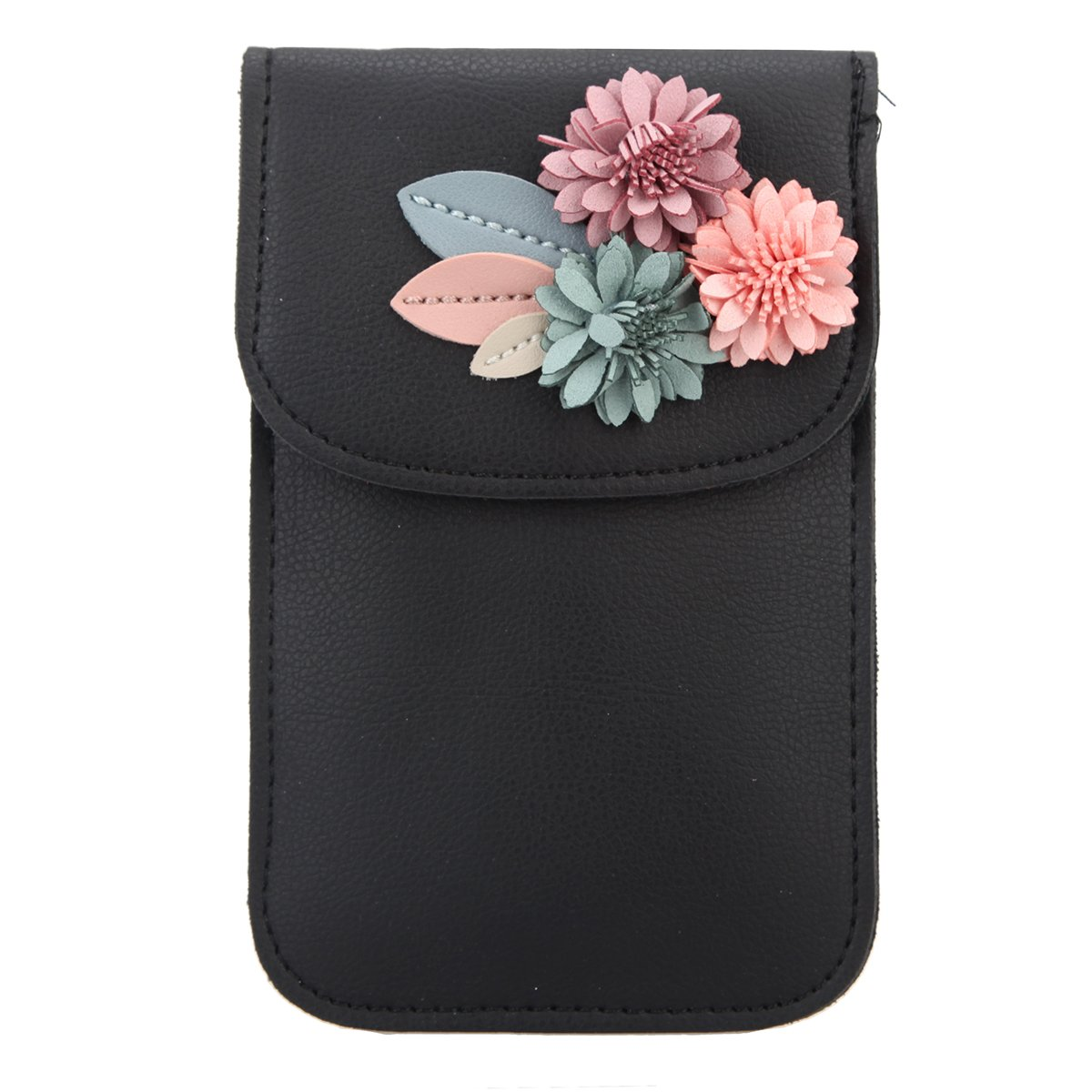 Fawziya Clutch Flower Evening Bags And Clutches For Women Wallet PU Leather Mobile Phone Bag-Black