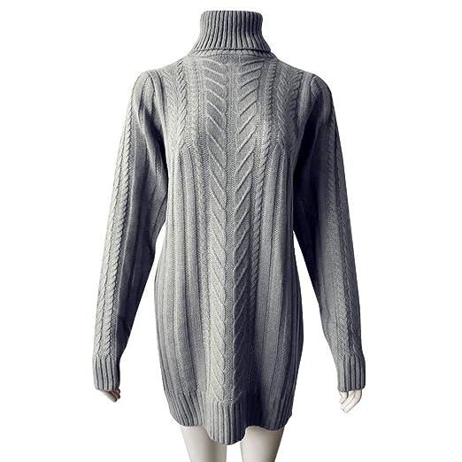 ZORE Women Sweater Mujeres Invierno Caliente de Manga Larga sólido suéter de Cuello Alto Jersey Mini Vestido: Amazon.es: Ropa y accesorios