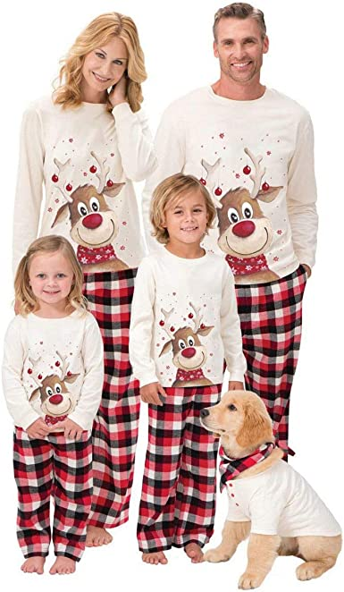 Pijamas navideños Familiares Xmas Deer Print Adultos Mujeres Niños Ropa Familiar a Juego Pijamas navideños Conjunto Familiar