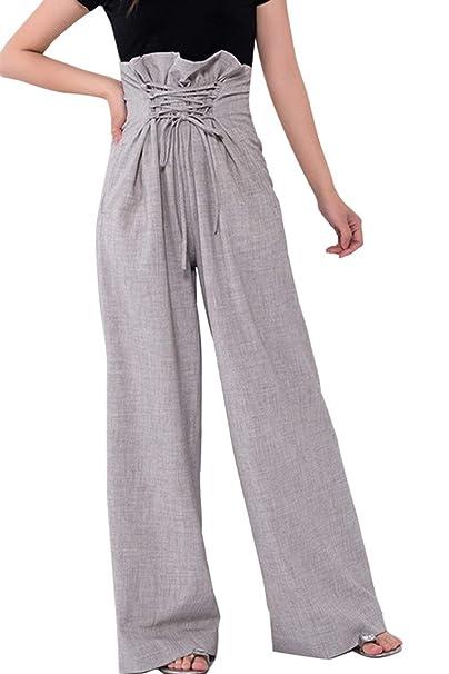 Primavera Otoño Elegantes Papiertüte Hose Mujer Con Cordones Con Bolsillos Anchos Clásico Especial Cintura Alta Pantalones