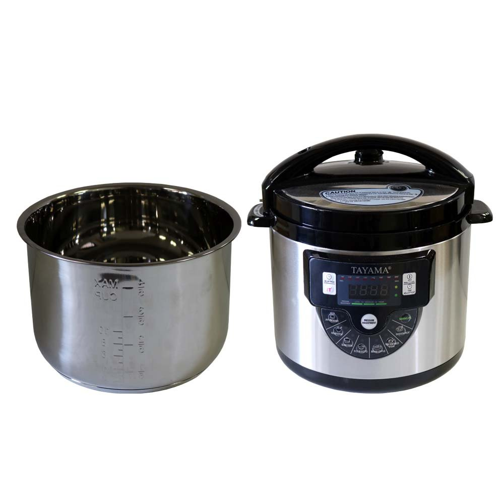 Tayama TMC-60SS Electric Pressure Cooker with Stainless Steel Pot 6 Quart, Medium Black