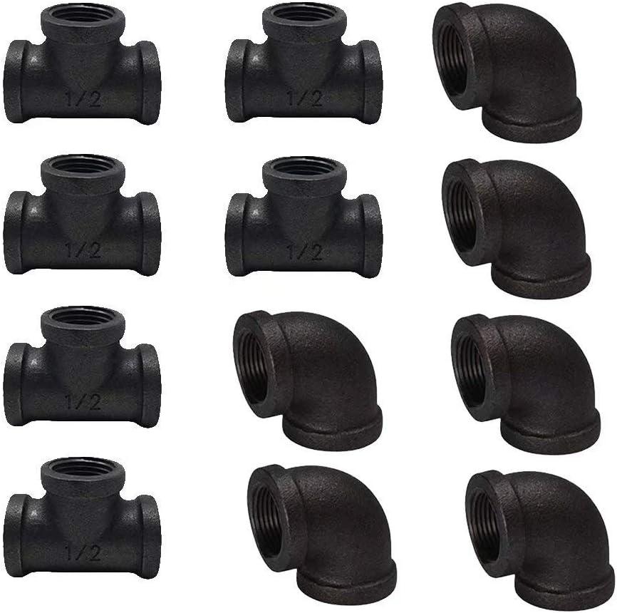 Esoes - Juego de 12 Accesorios de tubería de Hierro Fundido maleable, DN15 1/2 Negro, componentes de tubería para mesas de construcción, sillas, estanterías y Muebles Personalizados