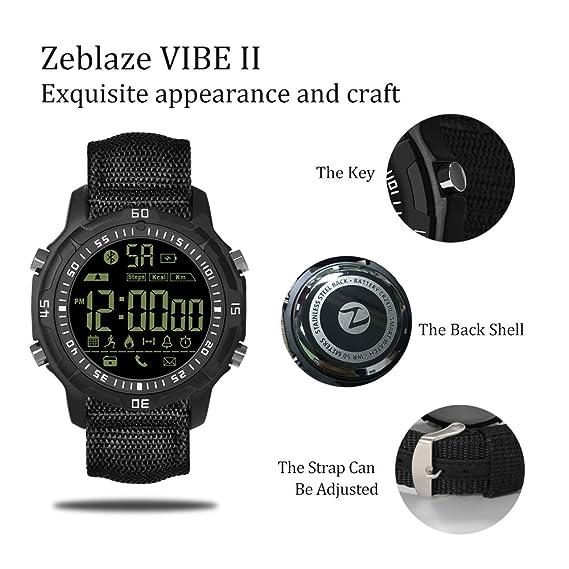 Reloj inteligente, Zeblaze Vibe II pulsera inteligente, al aire libre 5 ATM impermeable Smartwatch, Deporte Fitness Rastreadores con Contador de Pasos, ...