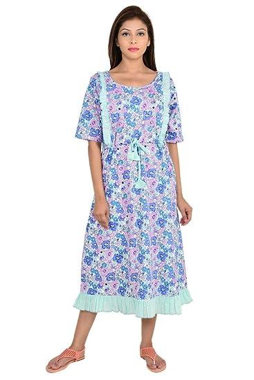 7a0772888aa32 9teenAGAIN Floral Printed Nursing Night Dress: Amazon.in: Clothing ...