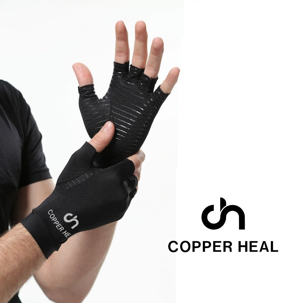 COPPER HEAL Arthritis Compression Gloves - Best Medical Copper Glove Guaranteed to Work for Rheumatoid Arthritis, Carpal Tunnel, RSI Osteoarthritis & Tendonitis Open in Fingers Fingerless Fit Size XL