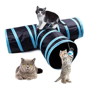 LinLang Túnel para gatos, plegable juguetes de 3 vías para el medio ambiente con bola