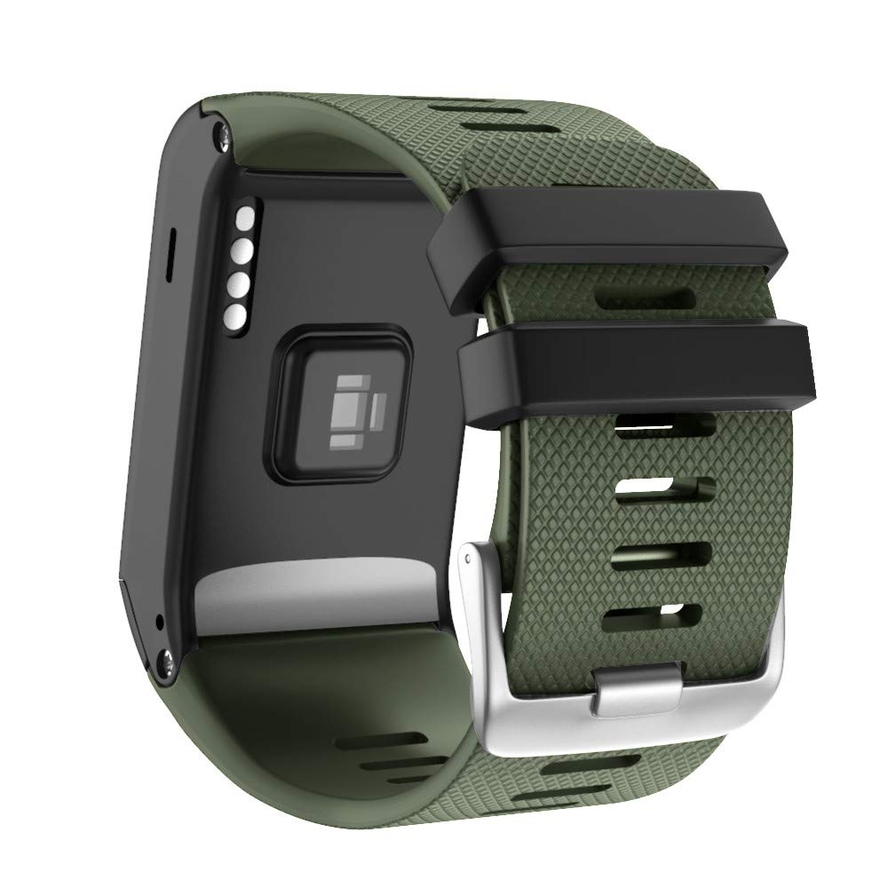 ANCOOL Compatible with Garmin Vivoactive HR Bands Soft Silicone Watch Bands Replacement for Garmin Vivoactive HR Smartwatch - Olive Green