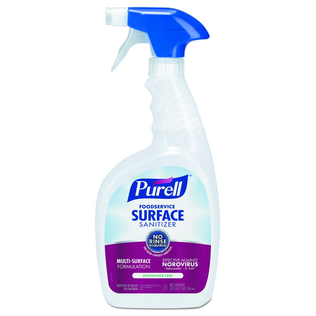 Purell 3341-03 Foodservice Surface Sanitizer 32 oz - Kills Norovirus in 30 Seconds, Fragrance Free, RTU (Pack of 3)
