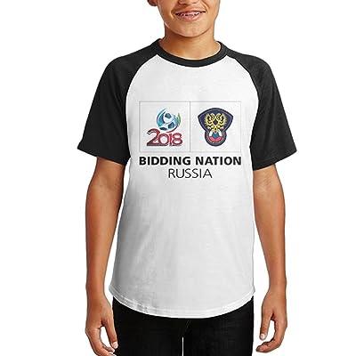 Dnim T-shirts Boys T Shirt Bidding-Nation-Russia Graphic Black Tee