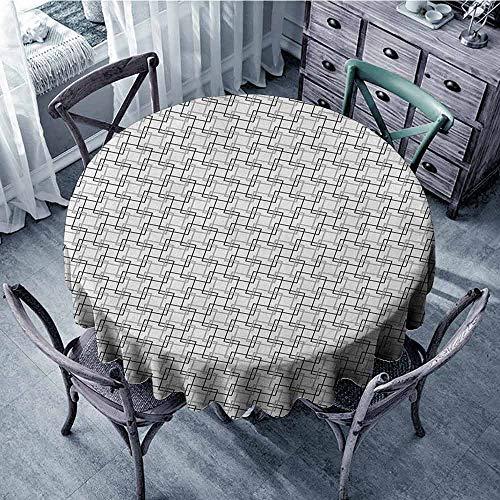 (ScottDecor Summer Round Tablecloth Picnic Cloth Geometric,Minimalist Pattern with Intersecting Squares Grayscale Lattice Mosaic, Black Pale Grey White Diameter 54