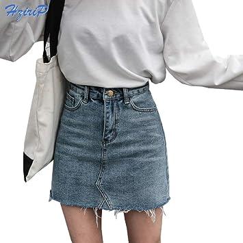 DAHDXD Moda de Verano Faldas de Cintura Alta para Mujer Bolsillos ...