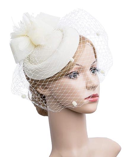 6798ff2d3e3 Cizoe Fascinator Hair Clip Pillbox Hat Bowler Feather Flower Veil Wedding  Party Hat Tea Hat (