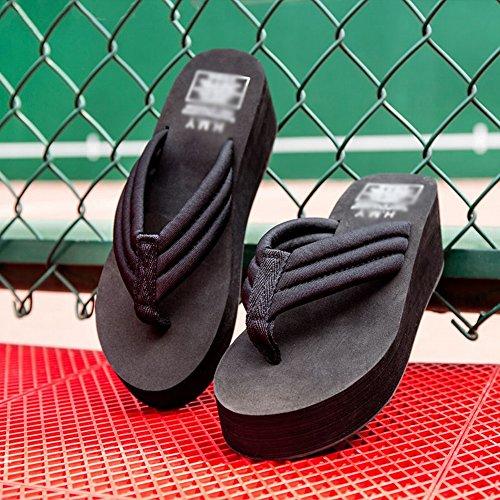 37 Spessa Infradito Suola Sand Tide Pantofole Indossare nero Beach Comode Summer Fashion Antiscivolo Slipper Aumentato Con qwTOSRZ