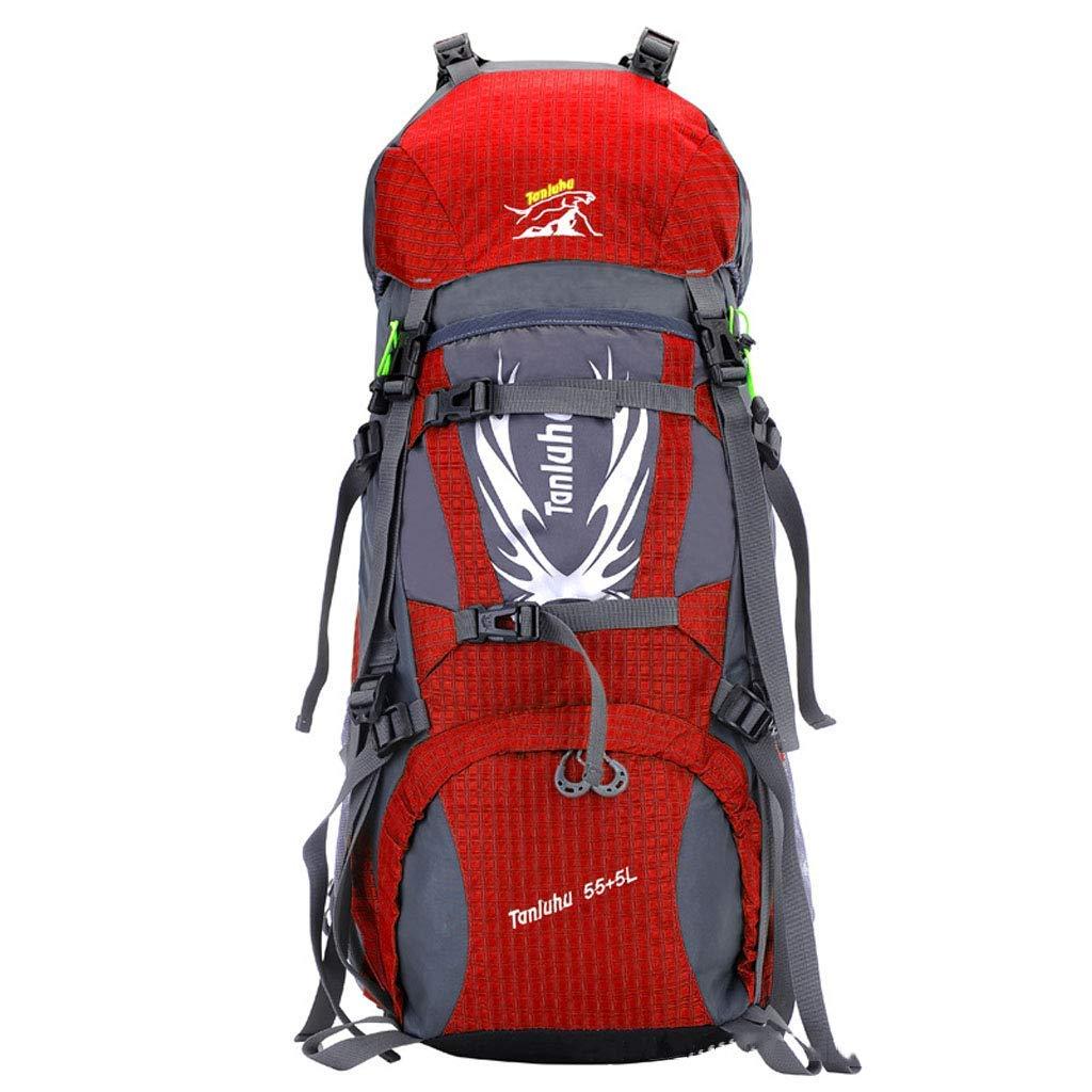 登山バッグ大容量ナイロン防水通気性ベルトキャリングシステムスチールフレームバッグレインカバー屋外ハイキングロッククライミングキャンプ男性 'Sと女性' Sユニバーサルバックパック B07T679Y4G red