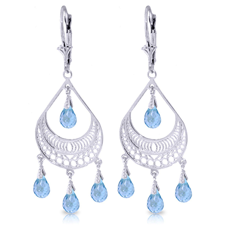 6.75 Carat 14K Solid White Gold Summer Rain Blue Topaz Earrings