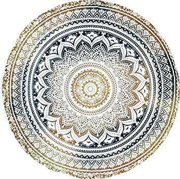 Indian Mandala Microfiber Large Round Beach Blanket with Tassels Ultra Soft Super Water Absorbent Multi-