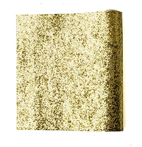 Faux Sparkles - Chunky Glitter Fabric Sheets Shiny Craft Faux Leather Canvas Back Assorted Colors Sparkle DIY Vinyl Material 9''x 53'' (Gold)