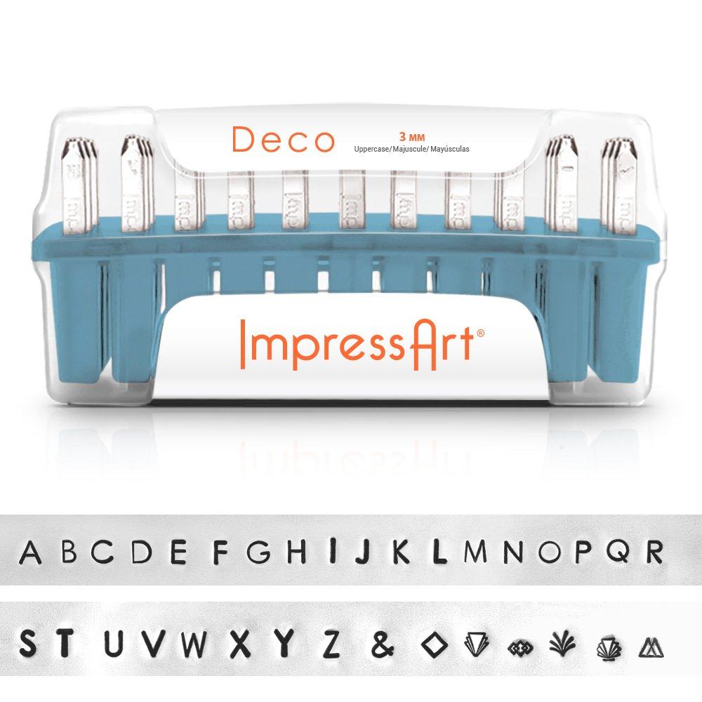 ImpressArt Deco Uppercase Letter Metal Stamps Set, 3mm by ImpressArt (Image #2)