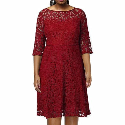 Sección de otoño de las nuevas mujeres de gran tamaño de encaje completo vestido de cuello redondo de nuevo abierto cintura siete mangas falda grande