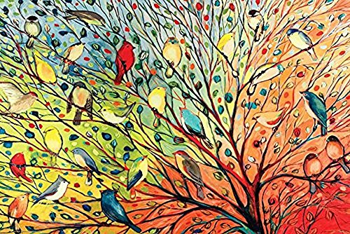 Bird Large Poster - Buyartforless Tree Birds by Jennifer Lommers 36x24 Colorful Art Print Posters