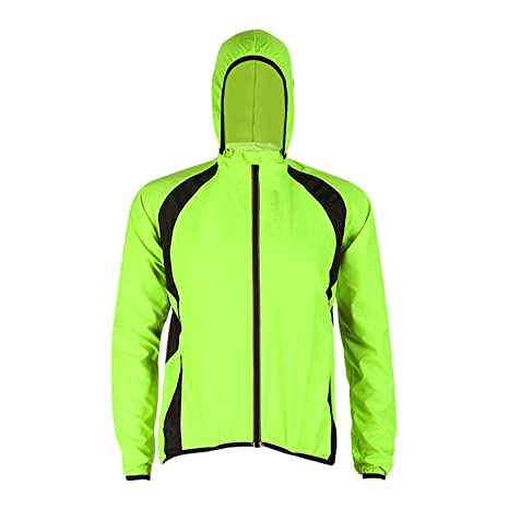 4d380121b Men s Windproof Water Resistant Running Cycling Jacket with Hoodie Long  Sleeve Bicycle Wind Coat