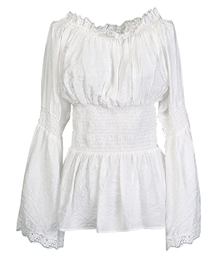 Steampunk Tops | Blouses, Shirts Charmian Womens Long Sleeve Off Shoulder Lace Trim Blouse Tops $28.99 AT vintagedancer.com