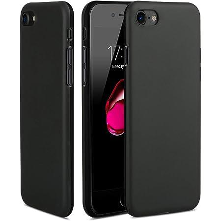 TheSmartGuard Hülle kompatibel für iPhone 8/7 Silikon Case Schwarz Matt Black mit glänzender Vorderseite extra robust TPU Sch