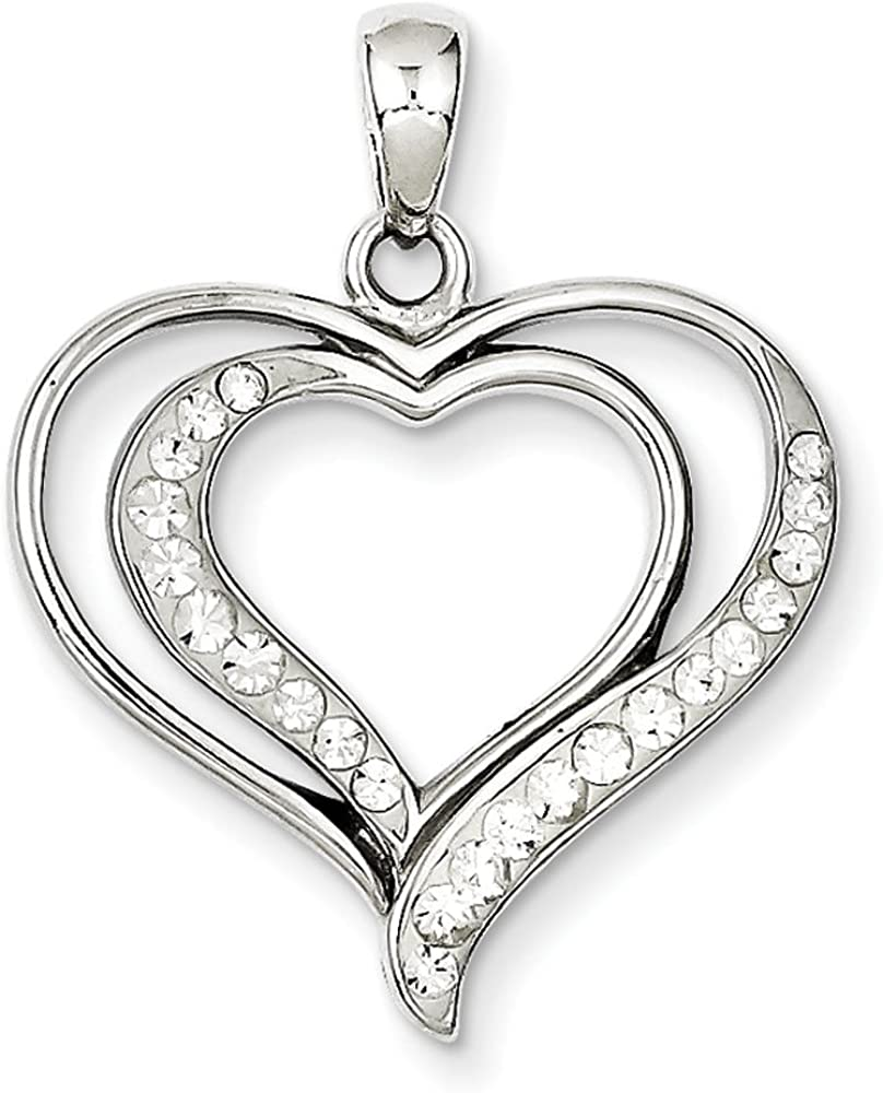 .925 Sterling Silver Rhodium Plated Stellux Crystal Heart Pendant