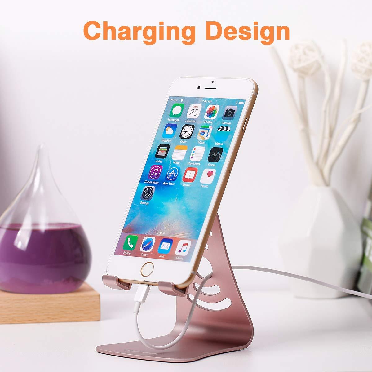 FLOUREON Handy Ständer Smartphone Halterung Handyhalter Tablet Stand für iPhone iPad Samsung Huawei Kindle und alle andere Tableten Handys Rosa Gold