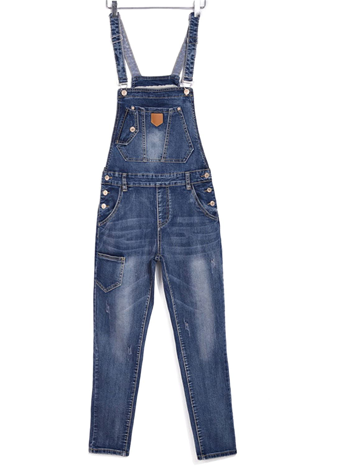LEO BON Womens Casual Denim Bib Overall Triangle Pattern Patch Adjustable Strap Trousers KF-LSZYF-085