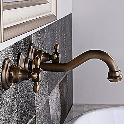 KunMai Classic Antique Brass Wall Mounted 2-Handles 3-Hole Widespread Bathroom Sink Faucet