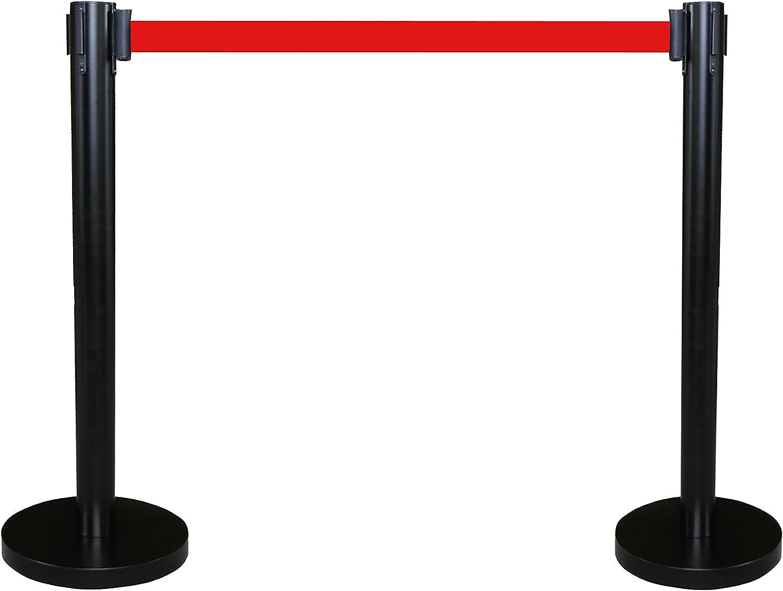 FixtureDisplays Black Crowd Control Stanchion Queue Barrier Post RED Strap 78 Retractable 12004-10-2PK-NF
